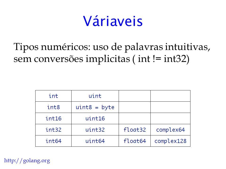 Váriaveis Tipos numéricos: uso de palavras intuitivas, sem conversões implicitas ( int != int32) http://golang.org.