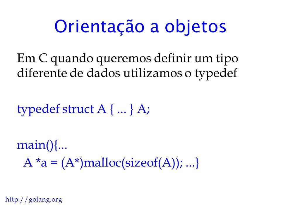 Orientação a objetos Em C quando queremos definir um tipo diferente de dados utilizamos o typedef. typedef struct A { ... } A;