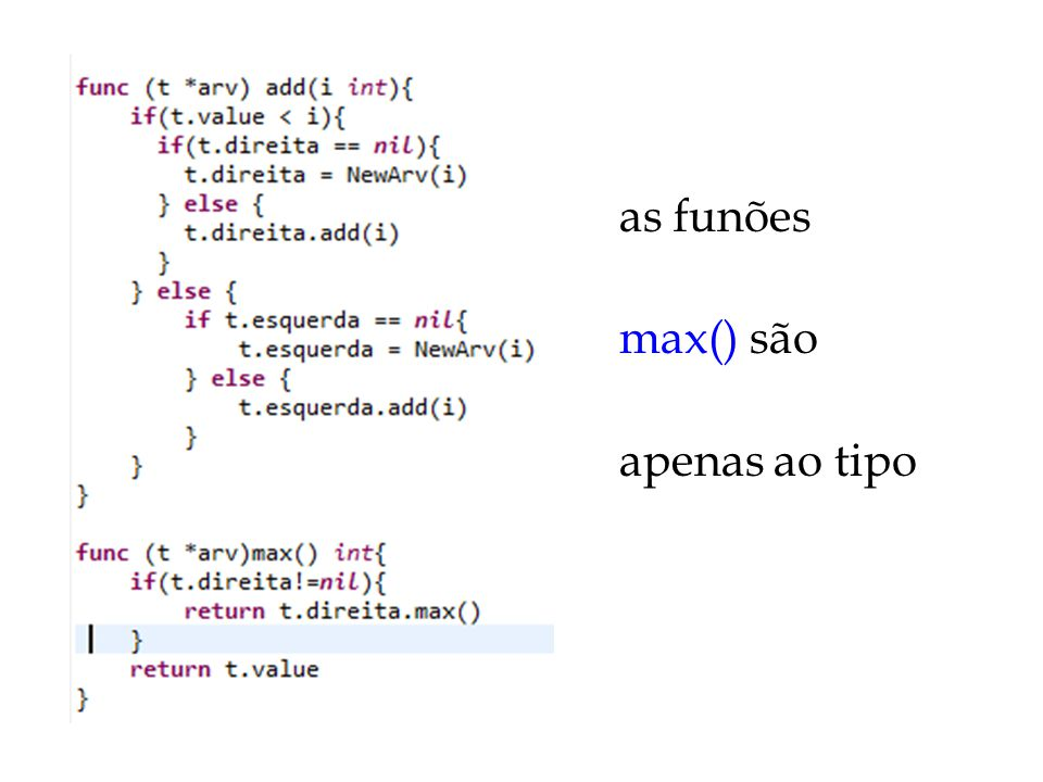 as funões add(int) e max() são aplicáveis apenas ao tipo *arv