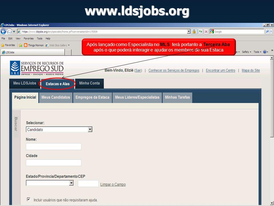 www.ldsjobs.org Após lançado como Especialista no MLS terá portanto a Terceira Aba após o que poderá interagir e ajudar os membros de sua Estaca.