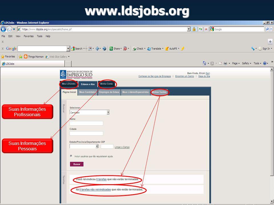 www.ldsjobs.org Suas Informações Profissionais