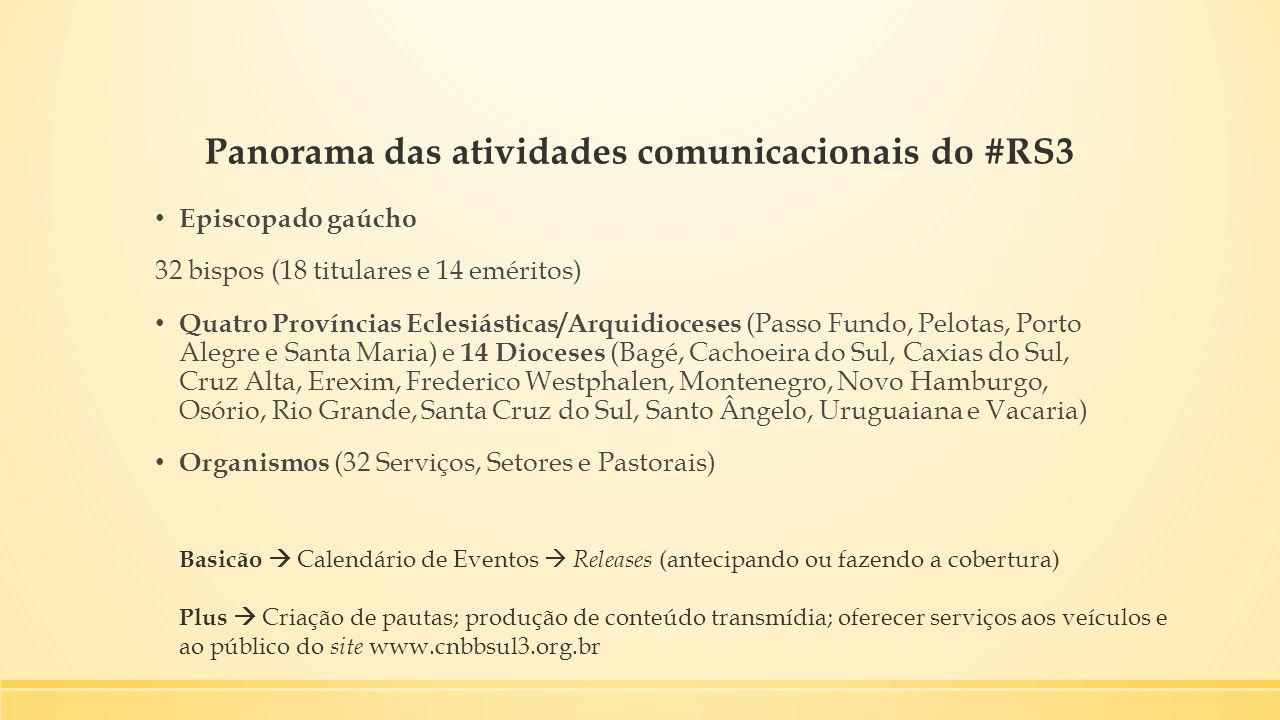 Panorama das atividades comunicacionais do #RS3