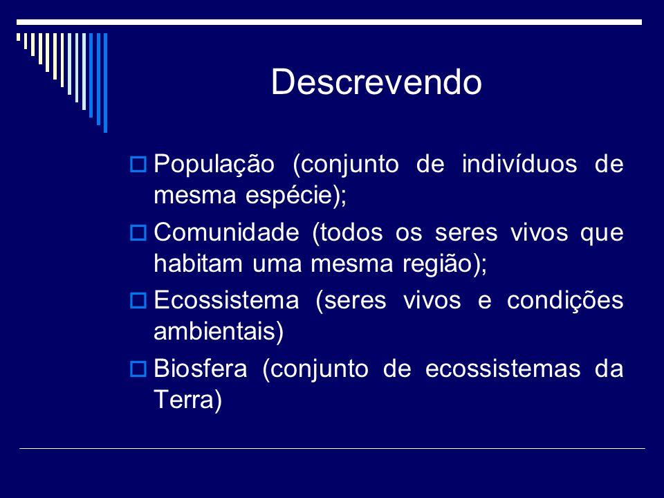 Descrevendo População (conjunto de indivíduos de mesma espécie);