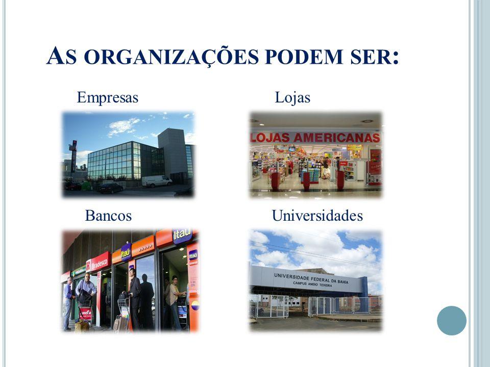 As organizações podem ser: