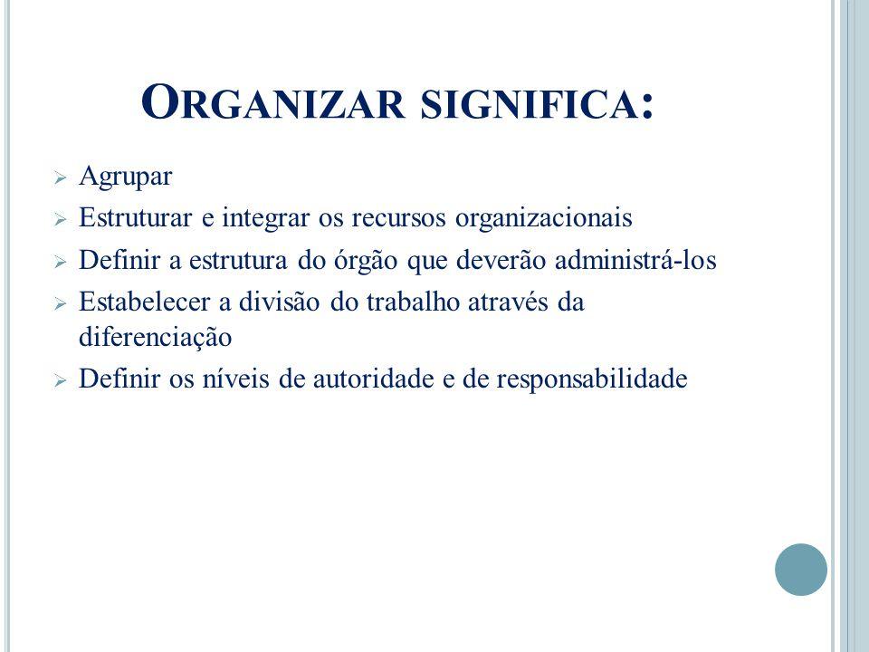 Organizar significa: Agrupar