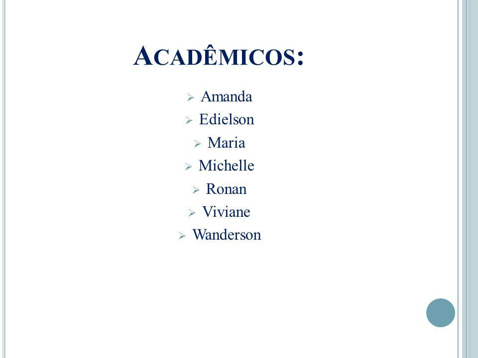 Acadêmicos: Amanda Edielson Maria Michelle Ronan Viviane Wanderson