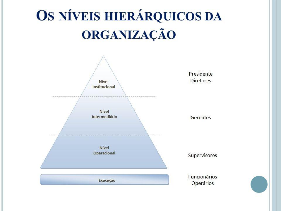 Os níveis hierárquicos da organização