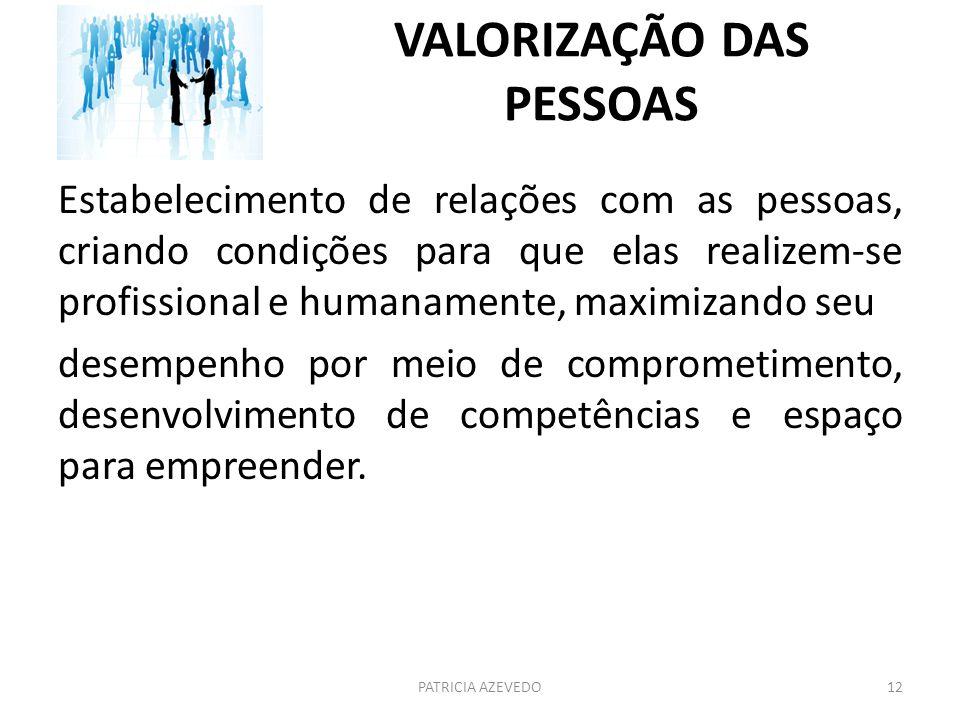 VALORIZAÇÃO DAS PESSOAS