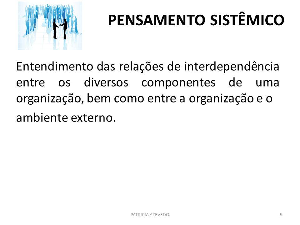 PENSAMENTO SISTÊMICO Entendimento das relações de interdependência entre os diversos componentes de uma organização, bem como entre a organização e o.