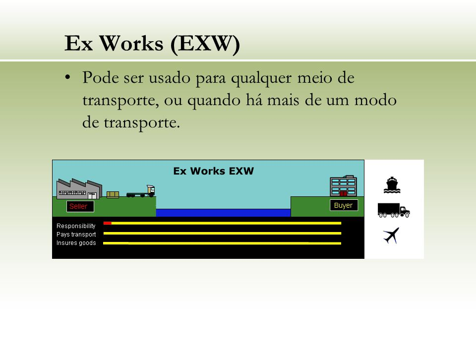 Ex Works (EXW) Pode ser usado para qualquer meio de transporte, ou quando há mais de um modo de transporte.