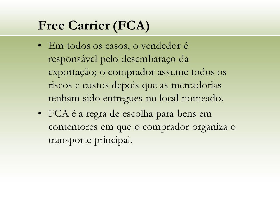 Free Carrier (FCA)