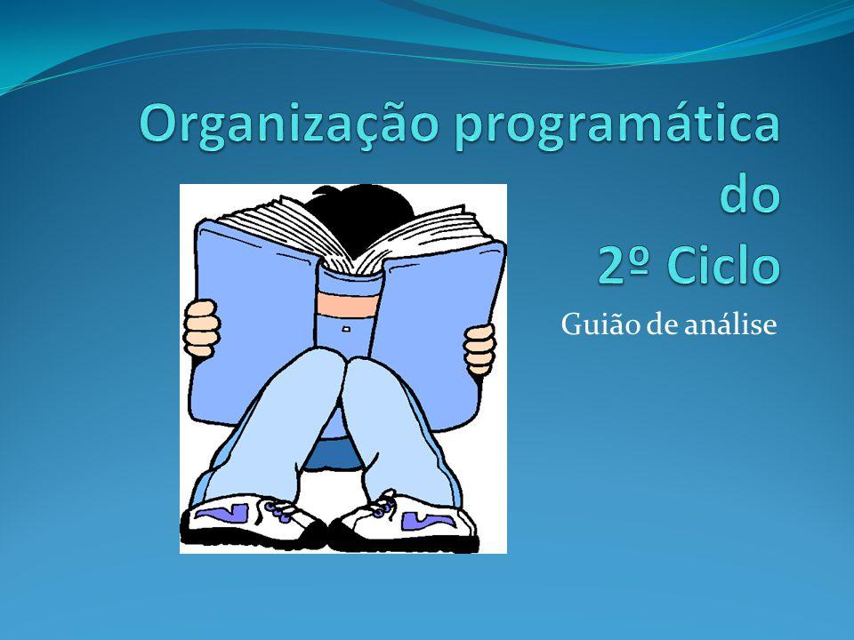 Organização programática do 2º Ciclo