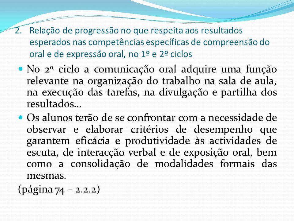 Relação de progressão no que respeita aos resultados esperados nas competências específicas de compreensão do oral e de expressão oral, no 1º e 2º ciclos