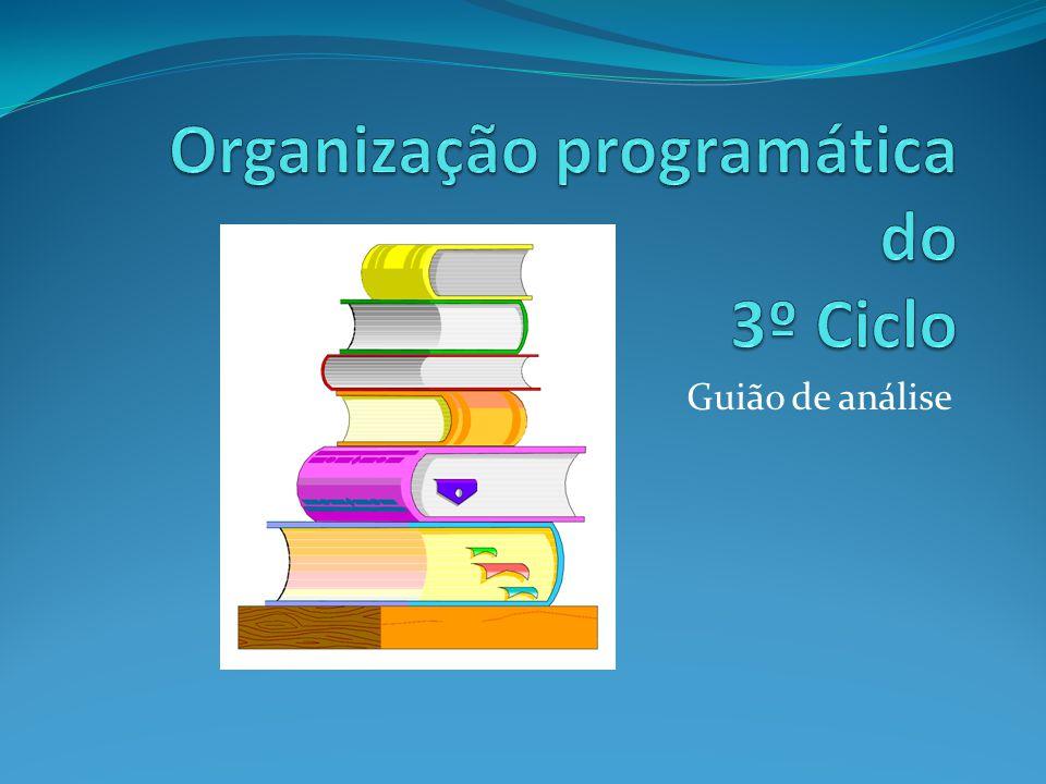 Organização programática do 3º Ciclo