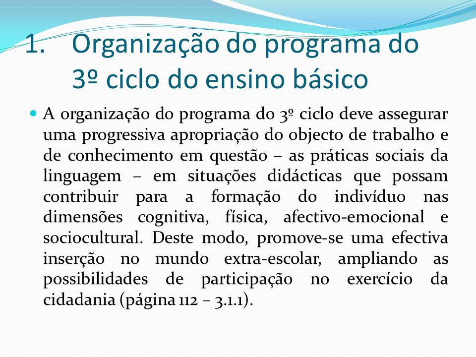 Organização do programa do 3º ciclo do ensino básico