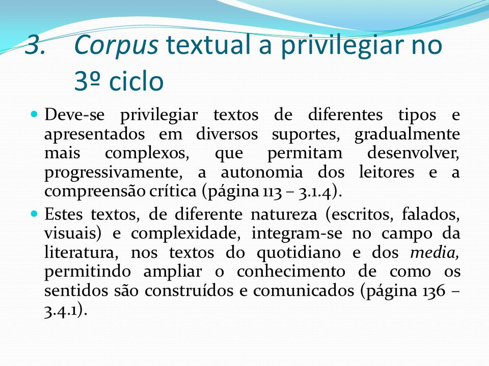Corpus textual a privilegiar no 3º ciclo