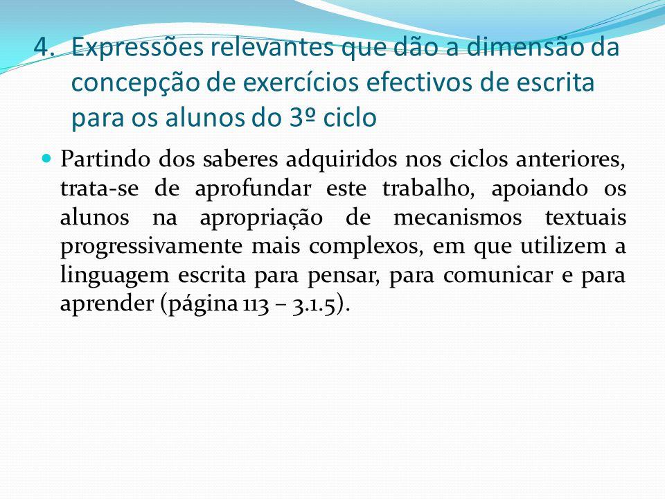 Expressões relevantes que dão a dimensão da concepção de exercícios efectivos de escrita para os alunos do 3º ciclo