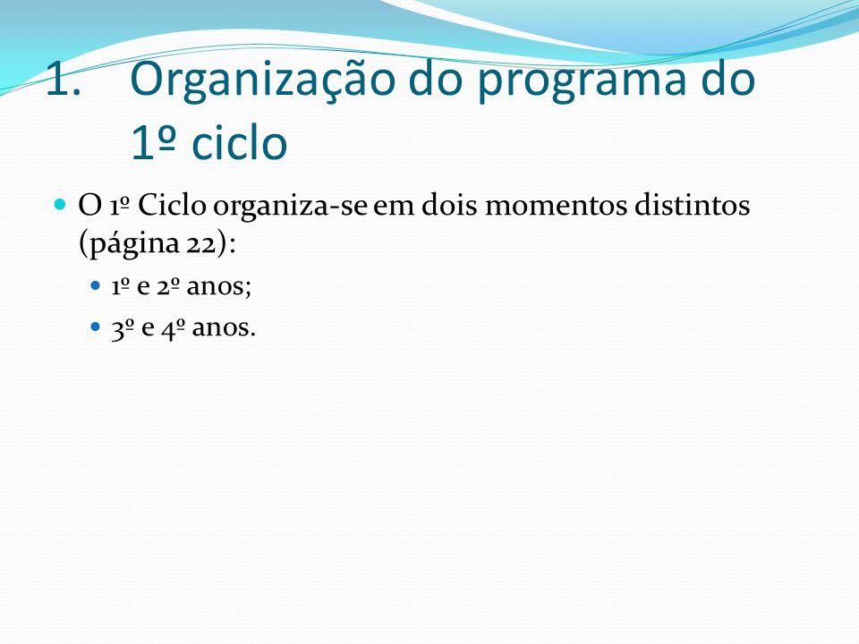 Organização do programa do 1º ciclo