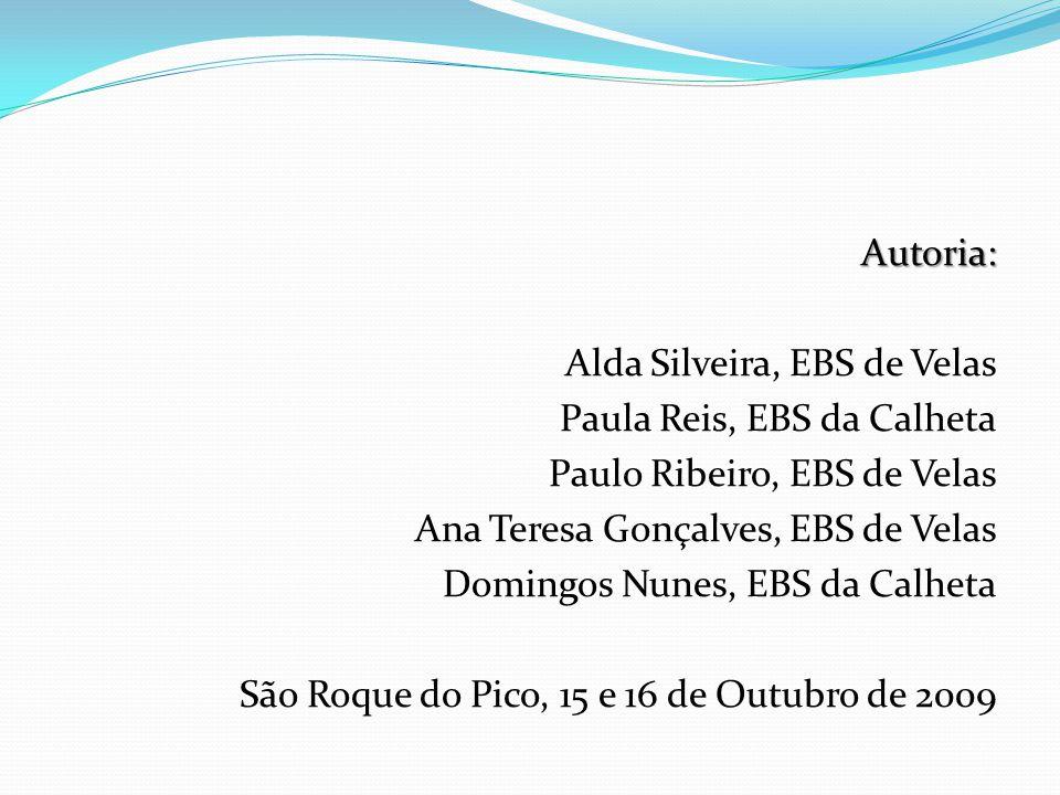 Autoria: Alda Silveira, EBS de Velas Paula Reis, EBS da Calheta Paulo Ribeiro, EBS de Velas Ana Teresa Gonçalves, EBS de Velas Domingos Nunes, EBS da Calheta São Roque do Pico, 15 e 16 de Outubro de 2009