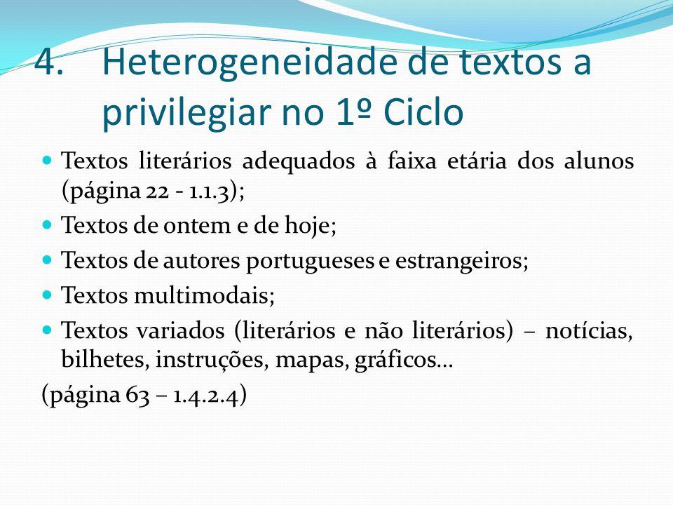 Heterogeneidade de textos a privilegiar no 1º Ciclo