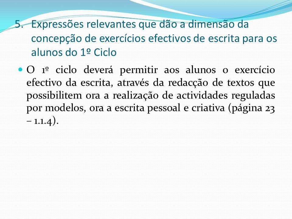 Expressões relevantes que dão a dimensão da concepção de exercícios efectivos de escrita para os alunos do 1º Ciclo
