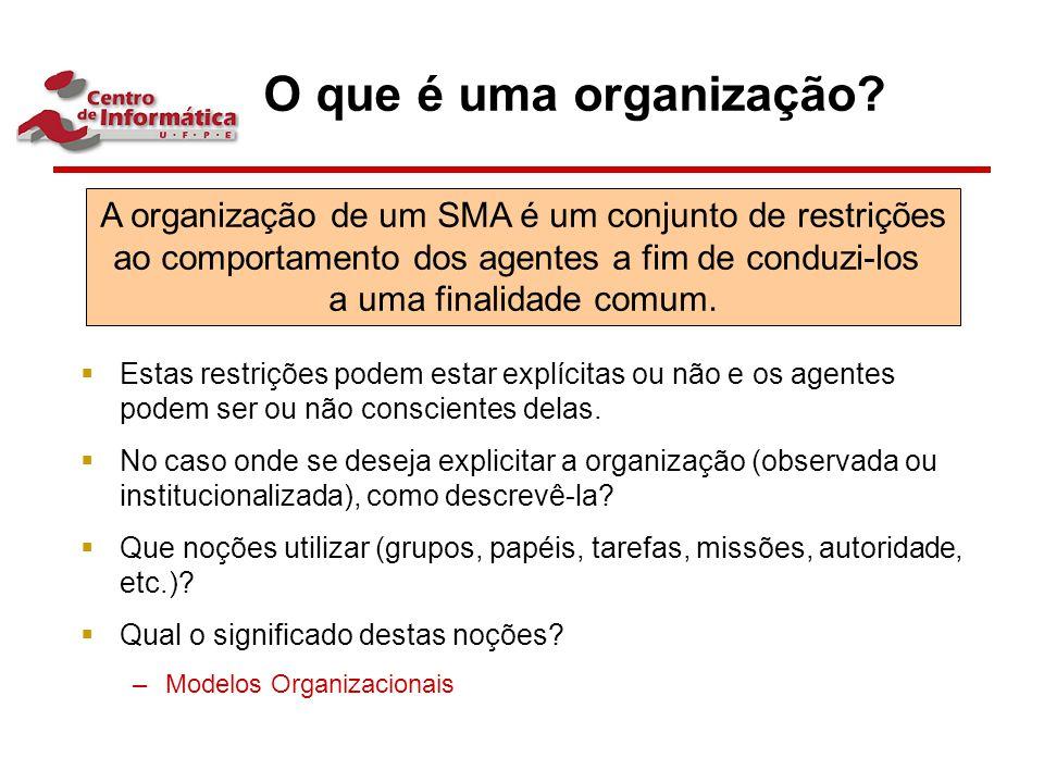 O que é uma organização Estas restrições podem estar explícitas ou não e os agentes podem ser ou não conscientes delas.