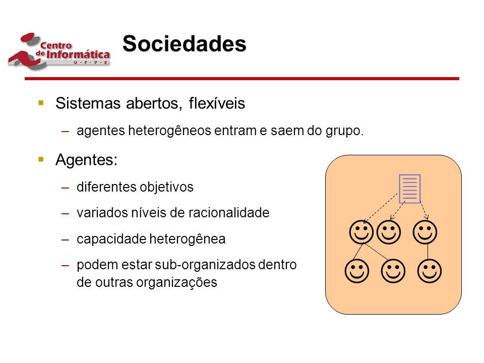       Sociedades Sistemas abertos, flexíveis Agentes: