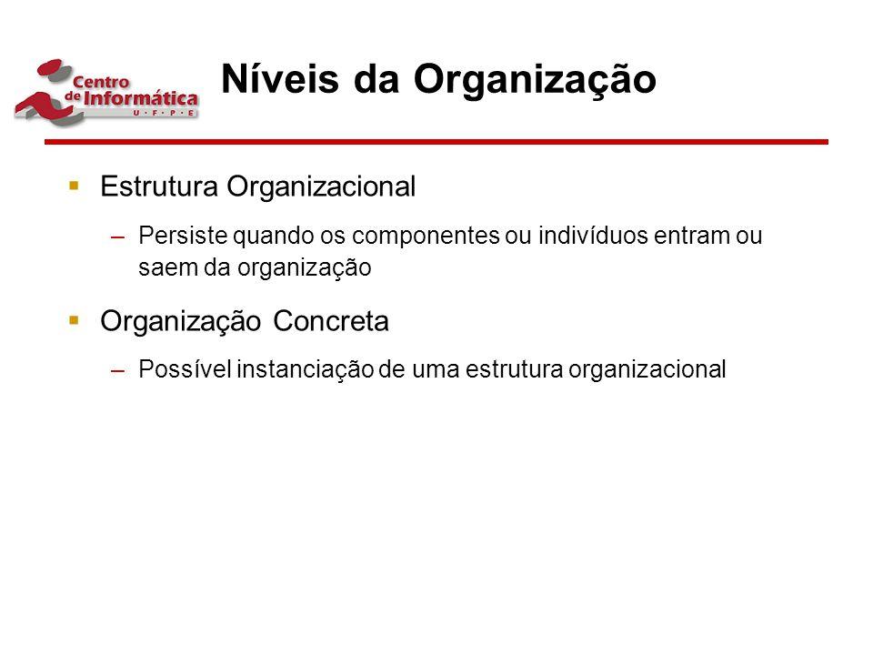 Níveis da Organização Estrutura Organizacional Organização Concreta