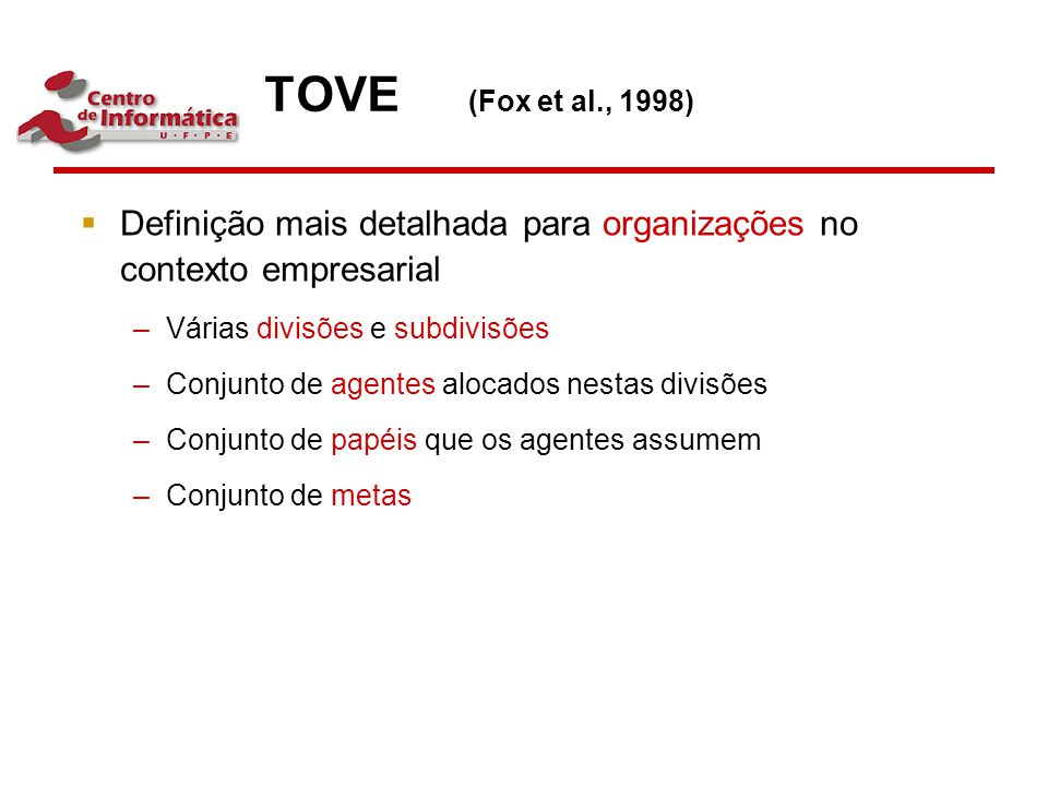 TOVE (Fox et al., 1998) Definição mais detalhada para organizações no contexto empresarial. Várias divisões e subdivisões.