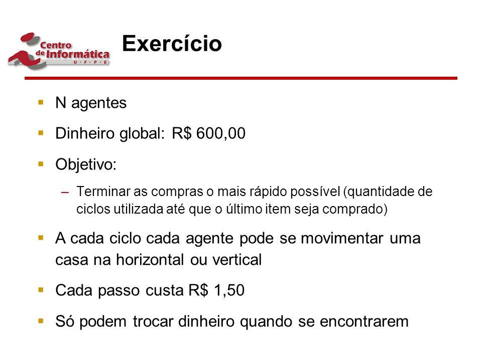 Exercício N agentes Dinheiro global: R$ 600,00 Objetivo: