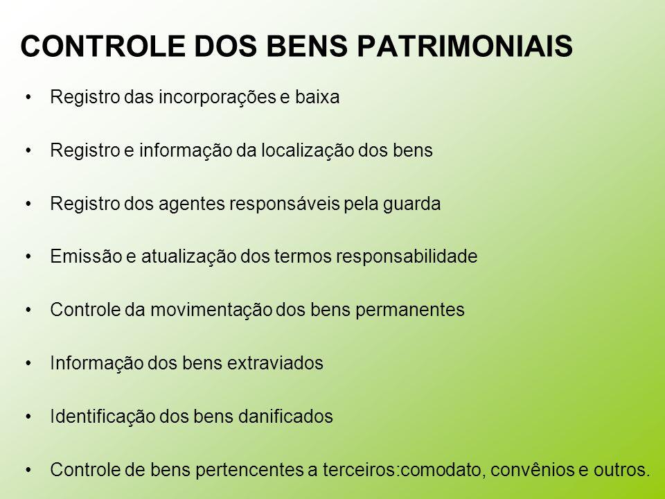 CONTROLE DOS BENS PATRIMONIAIS