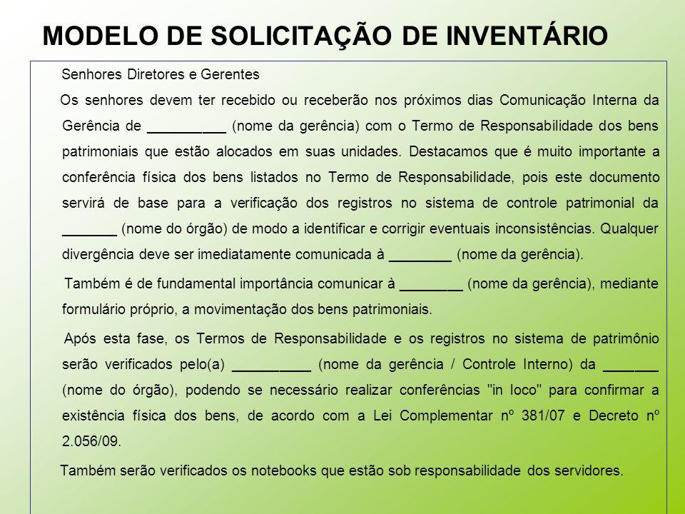 MODELO DE SOLICITAÇÃO DE INVENTÁRIO