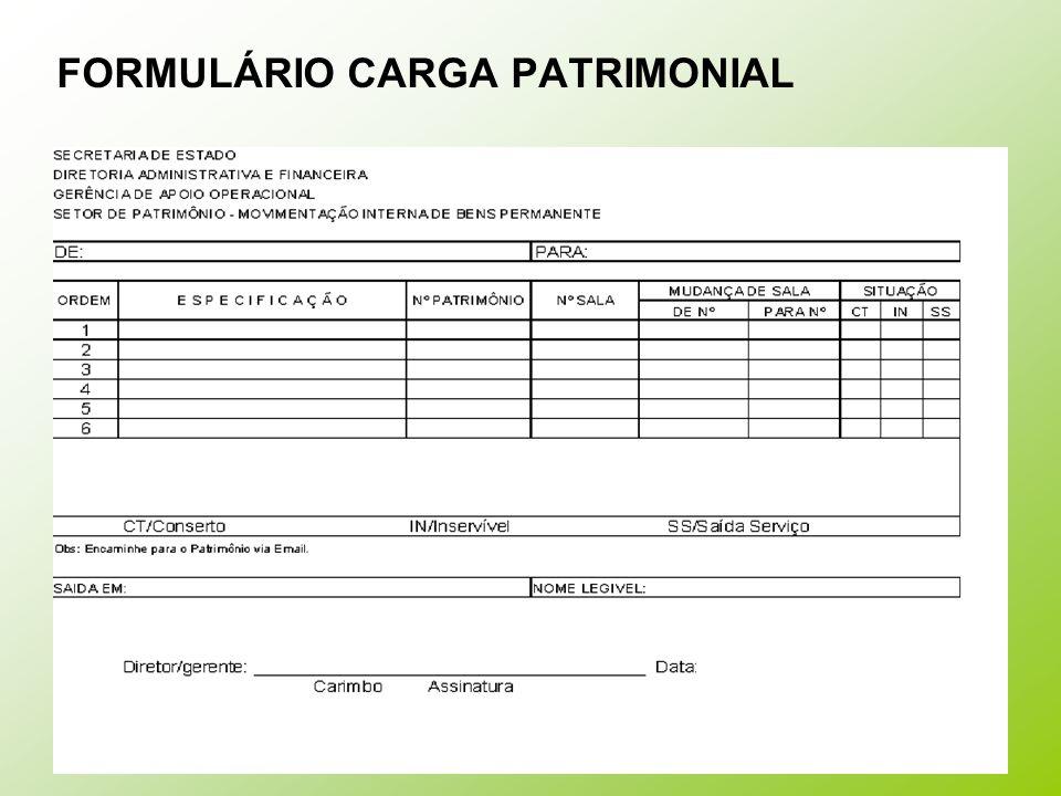 FORMULÁRIO CARGA PATRIMONIAL