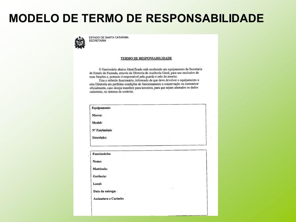 MODELO DE TERMO DE RESPONSABILIDADE