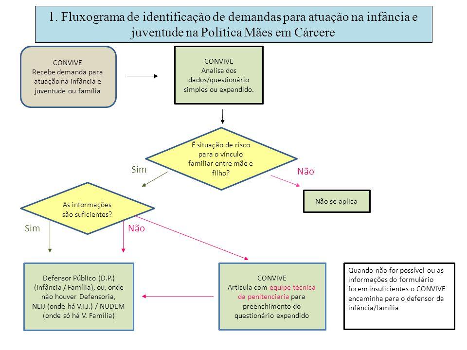 1. Fluxograma de identificação de demandas para atuação na infância e juventude na Política Mães em Cárcere