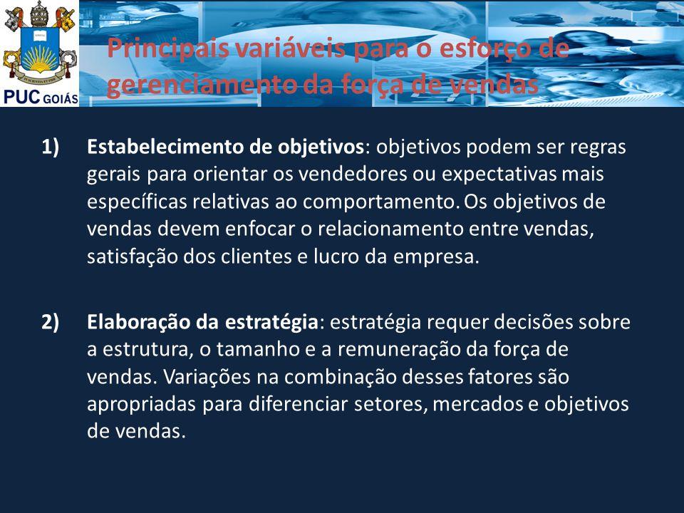 Principais variáveis para o esforço de gerenciamento da força de vendas