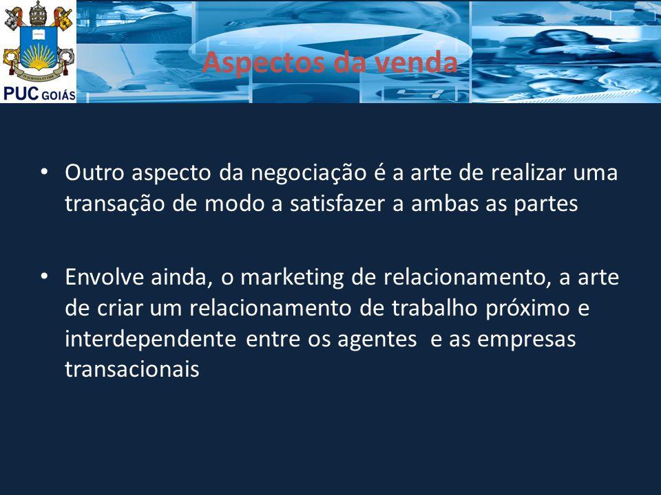 Aspectos da venda Outro aspecto da negociação é a arte de realizar uma transação de modo a satisfazer a ambas as partes.