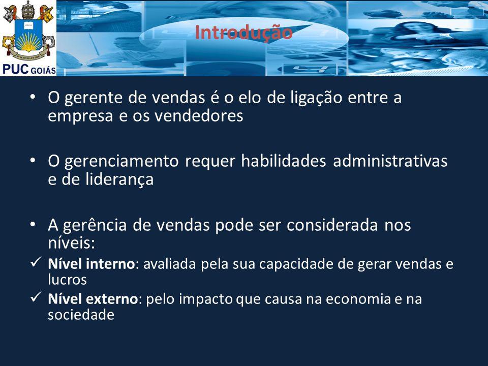 Introdução O gerente de vendas é o elo de ligação entre a empresa e os vendedores. O gerenciamento requer habilidades administrativas e de liderança.