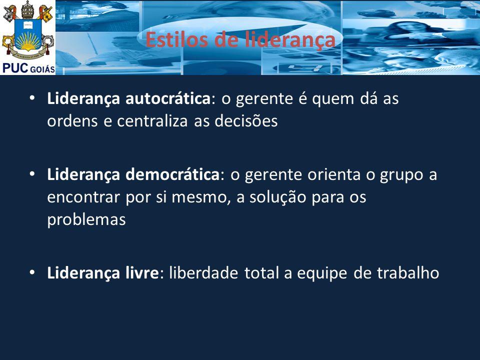 Estilos de liderança Liderança autocrática: o gerente é quem dá as ordens e centraliza as decisões.