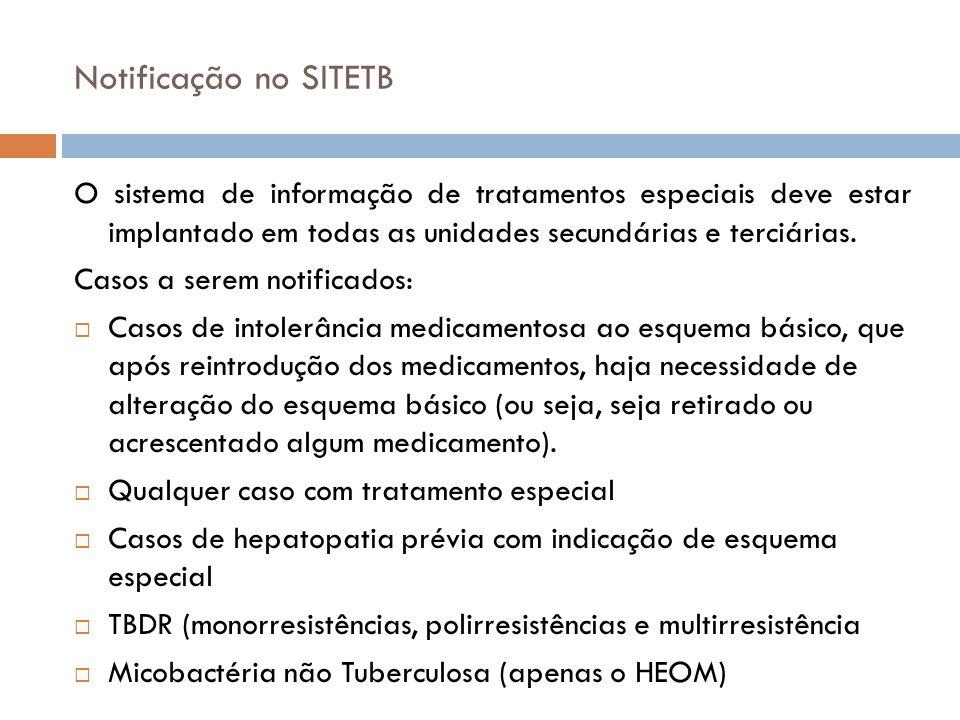 Notificação no SITETB O sistema de informação de tratamentos especiais deve estar implantado em todas as unidades secundárias e terciárias.
