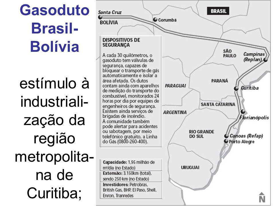 Gasoduto Brasil-Bolívia estímulo à industriali-zação da região metropolita-na de Curitiba;