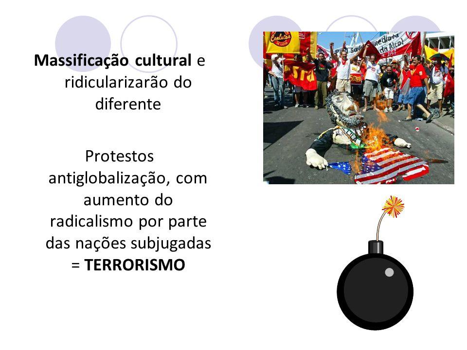 Massificação cultural e ridicularizarão do diferente Protestos antiglobalização, com aumento do radicalismo por parte das nações subjugadas = TERRORISMO