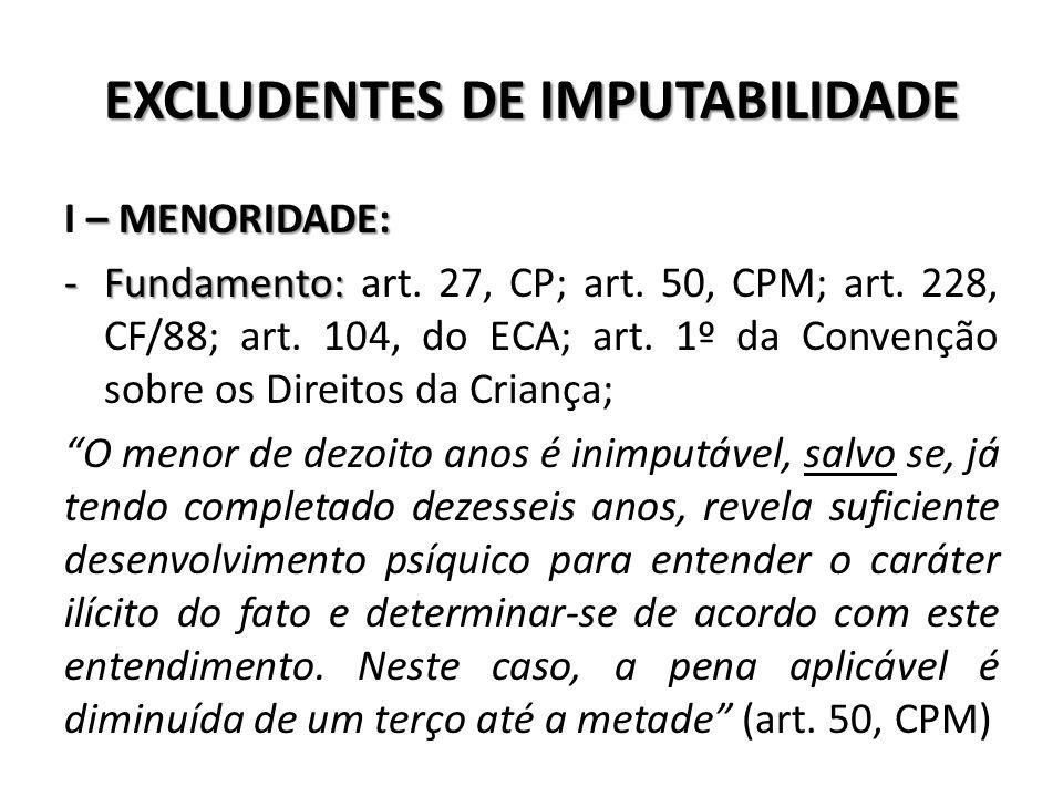 EXCLUDENTES DE IMPUTABILIDADE