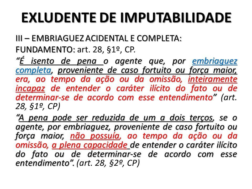 EXLUDENTE DE IMPUTABILIDADE