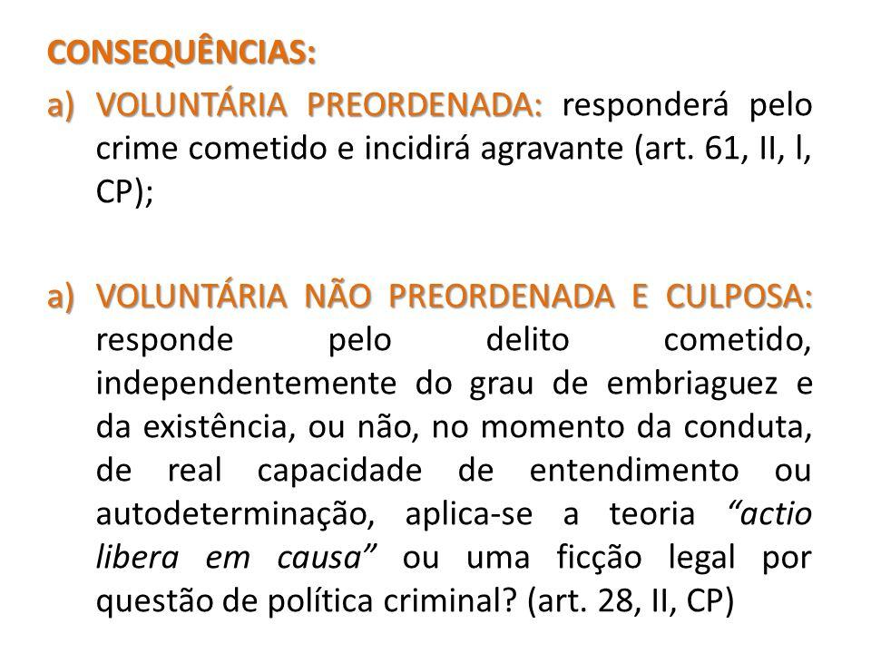 CONSEQUÊNCIAS: VOLUNTÁRIA PREORDENADA: responderá pelo crime cometido e incidirá agravante (art. 61, II, l, CP);