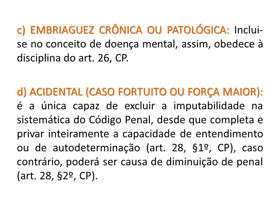 c) EMBRIAGUEZ CRÔNICA OU PATOLÓGICA: Inclui-se no conceito de doença mental, assim, obedece à disciplina do art.