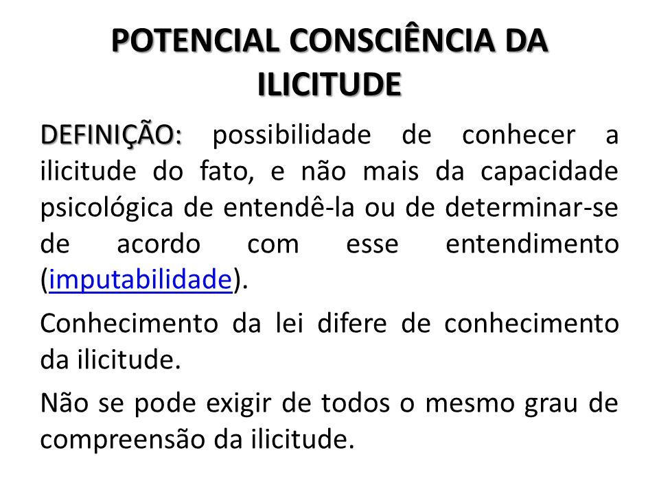 POTENCIAL CONSCIÊNCIA DA ILICITUDE
