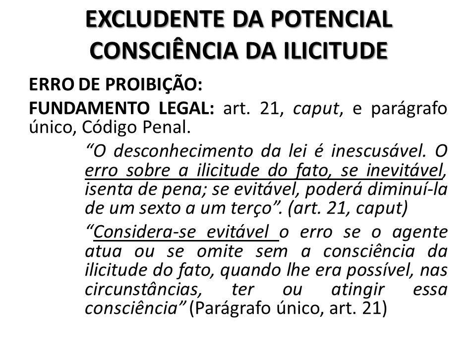 EXCLUDENTE DA POTENCIAL CONSCIÊNCIA DA ILICITUDE
