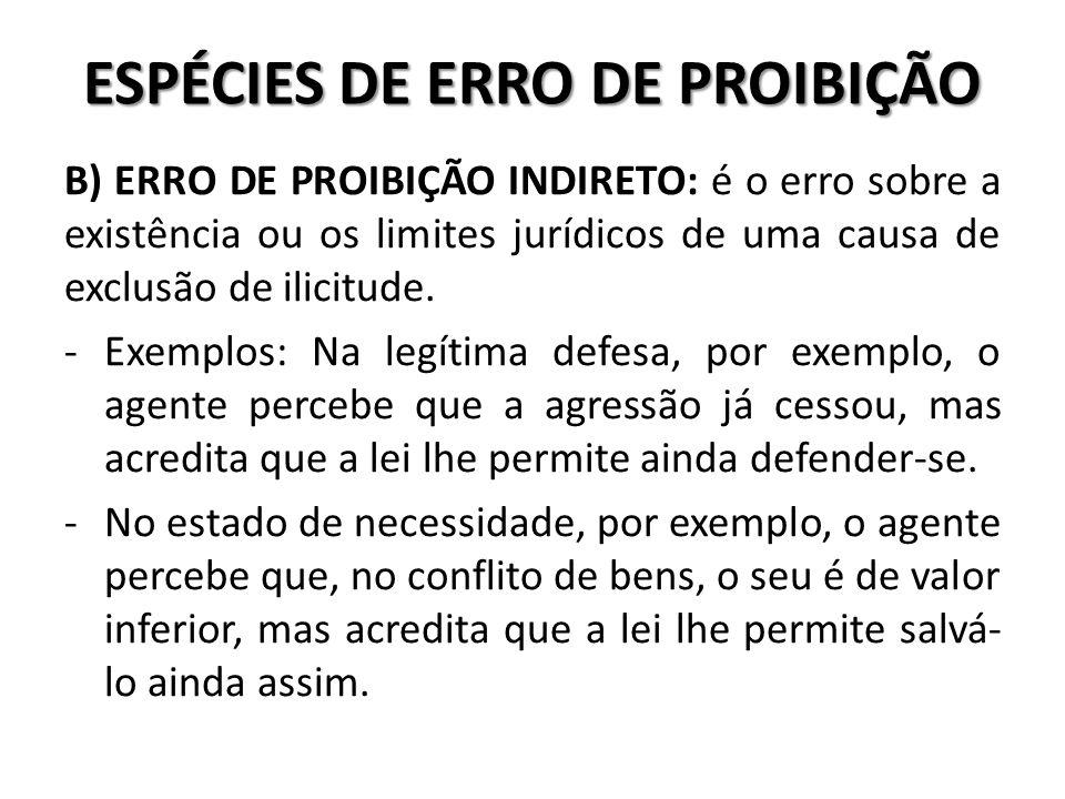 ESPÉCIES DE ERRO DE PROIBIÇÃO