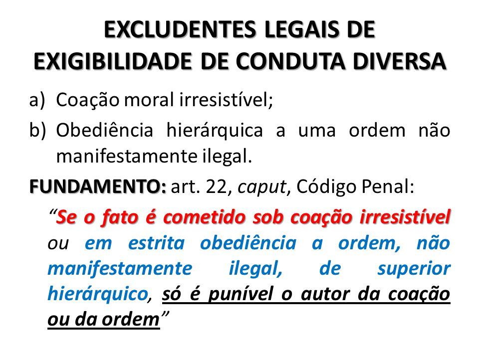 EXCLUDENTES LEGAIS DE EXIGIBILIDADE DE CONDUTA DIVERSA